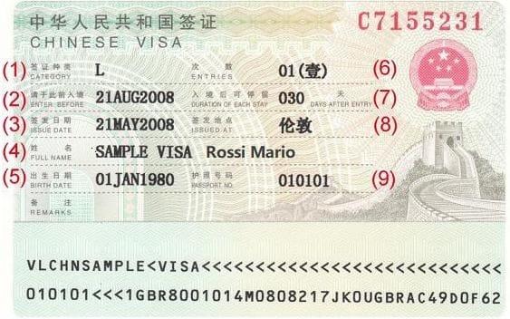 Come leggere un visto per la Cina